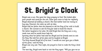 Saint Brigid's Cloak Printable Story Sheet - saint brigid, irish history, ireland, saint, patron, story sheet, printable