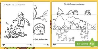 Herbst Anmalbilder - herbstlich, Jahreszeiten, Malen, Anmalen, Ausmalen, Farbe, ,German