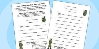 World War One Letter Template Polish Translation - polish, world war one, letter, template