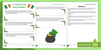St. Patrick's Day Word Problems K-2 Worksheet / Activity Sheet - St. Patrick's Day, Math, Word Problems, Addition, Subtraction, Elapsed Time, saint patrick's day,