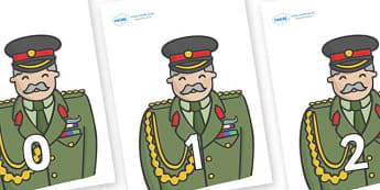 Numbers 0-100 on Officers - 0-100, foundation stage numeracy, Number recognition, Number flashcards, counting, number frieze, Display numbers, number posters