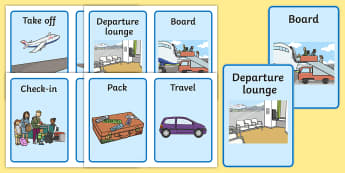 Going on a Plane Journey Cards - Holidays, holiday, travel, cards, flashcards, plane journey, agent, booking, plane, flight, hotel