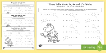 Times Tables Missing Numbers Activity Sheet English/Mandarin Chinese - KS1, maths, tables, counting in twos, counting in fives, counting in tens, tables, multiplication, t