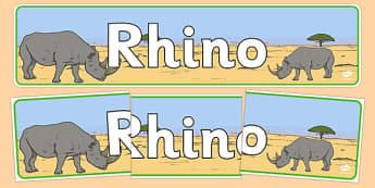 Rhino Display Banner - rhinos, rhinoceros, display, banner, safari, africa, animals, wild, wildlife, banner, sign, endangered, rare