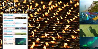 Imagine Light KS1 Resource Pack German - EAL, German, Diwali, Diva Lamps, Lighthouse, Light, Compact Disc, Shadows, Northern Lights,German