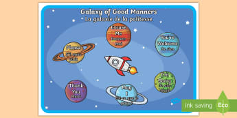 Galaxy of Good Manners Display Poster English/French - Display, manners, behaviour, KS1, EAL French