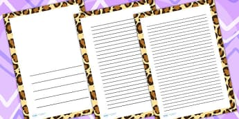 Leopard Print Page Borders - writing templates, writing frames