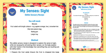 My Senses   Sight Edible Sensory Recipe