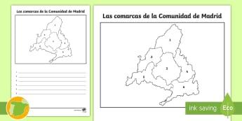 Ficha de actividad: Las comarcas de la Comunidad de Madrid - Mapas, provinicias, mapas mudos, mapas en blanco, las ciudades de españa, comarcas, concejos, comun