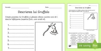 Material de sprijin pentru predarea poveștii Gruffalo - Descrierea personajului - gruffalo, fisa de lucru, română, materiale, scriere, descriere a personajului, materiale, fișe,Ro