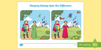 Sleeping Beauty Spot the Difference Activity - spot, difference
