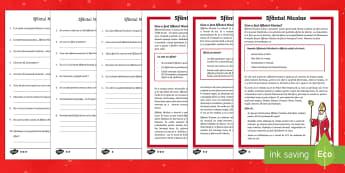 Sfântul Nicolae - Fișe diferențiate de evaluare a competenței de lectură - crăciun, craciu, sfantul nicolae, sf nicolae, sfantul nicolae, mos nicolae,  citire, text informati