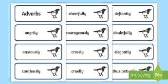 Magpie Wall Adverbs Word Cards - dispaly, adverbs, working wall, english working wall, English display,