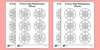 8 Times Table Multiplication Wheels Activity Sheet Pack - times table, multiplication wheel, multiply, activity sheet, worksheet, 8