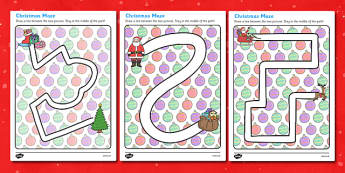 Christmas Pencil Control Path Worksheets - christmas, pencil control, pencil control worksheets, fine motor skills, fine motor worksheets, worksheets