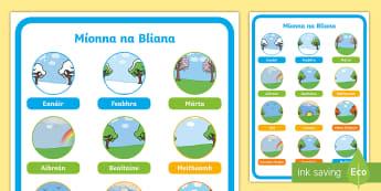 Míonna na Bliana Postaer Taispeána - Míonna na bliana, months of the year, poster, póstaer, Taispeána, Irish