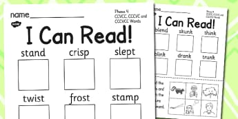 I Can Read Phase 4 CCVCC CCCVC and CCCVCC Words Activity Sheet, worksheet