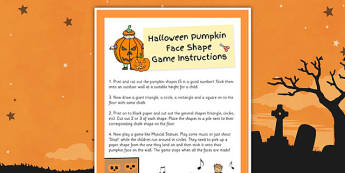 Pumpkin Face Shape Game - pumpkin, face, shape, game, activity