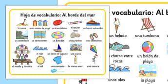 Seaside Word Mat Spanish - seaside, sea, under the sea, ocean, beach, holiday, vocabulary, spain, spanish, espanol, writing
