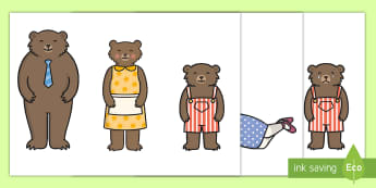Goldilocks and the Three Bears Stick Puppets - Goldilocks, stick puppet, traditional tales, tale, fairy tale, three bears, porridge, cottage, beds