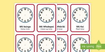 What's the time? Flashcards English/Te Reo Maori - daily routine, times, clocks, karaka, matawa, clock, hour, time, wā, te reo maori