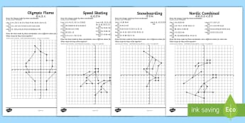 UKS2 Winter Olympics Coordinates Activity Sheets - English/Mandarin Chinese - Rings, Ski, Snowboard, Bobsleigh, Ice Skate, maths, plotting, quadrant , EAL, worksheets