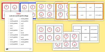 Citim ceasul la ora fixa și la jumătate de oră - Bingo - citim, ceasul, ora, fixă, jumătate, unitate de măsură, timp, ceas, romanian, materiale, materiale didactice, română, romana, material, material didactic
