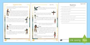 Ancient Egyptian Gods Reading Comprehension Activity - reading, comprehension, ancient Egypt, gods, non-fiction, egypt, pyramids, pharoahs, ancient civiliz