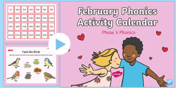 Phase 5 February Phonics Activity Calendar PowerPoint - phonics, calendar, monthly, reading, spelling, sorting, tricky words, letters and sounds, activity,
