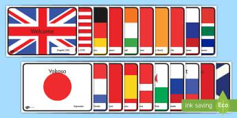 Internasionale Welkom Vlae met Lande Vertoon Plakkate - plekke, vakansie, groet, taal, tale, besprekings