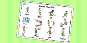EAL PE Games Word Mat Arabic Translation - arabic, pe, word mat