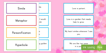 Valentine's Day Figurative Language Sorting Cards - Valentine's Day USA, CCSS.ELA-LITERACY.L.4.5.A, CCSS.ELA-LITERACY.L.5.5.A, CCSS.ELA-LITERACY.L.6.5.
