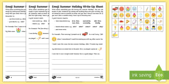 KS1 Emoji Summer Holiday Write-Up Differentiated Worksheet / Activity Sheets - recount, writing, summer holiday, non-fiction, past tense, retell, worksheets