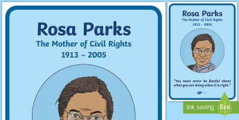 Rosa Parks Large Display Poster - civil rights movement, american, USA, racism, bus boycot,Irish