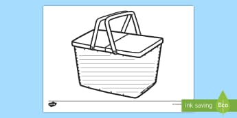 Picnic Basket Template Worksheet / Activity Sheet - Worksheet, food, eating, lighthouse keeper's lunch, teddy bear's picnic