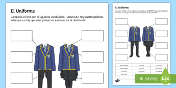 School Uniform Activity Sheet Spanish - Spanish KS3, clothes, uniform, uniforme, school, activity sheet, Spanish, worksheet