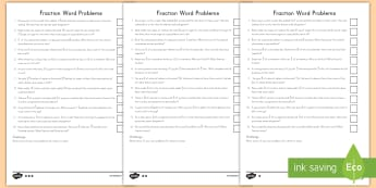 Fraction Word Problems Differentiated Worksheet / Activity Sheets - fractions, word problems, math, adding and subtracting, differentiated worksheet / activity sheets