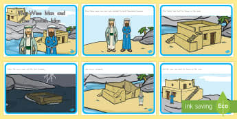 The Wise Man and The Foolish Man - usa, america, the wise man, the foolish man, wise, foolish, sequencing, story sequencing, story resources, A4, cards, sand, rock, rain, houses, building, house, bible story, bible