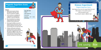 EYFS Magnetic Superhero Scene Science Experiment and Prompt Card Pack - Superheroes, superhero, magnets, forces