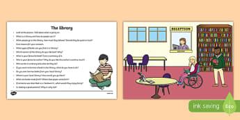The Library Oral Language Activity Sheet-Irish, worksheet