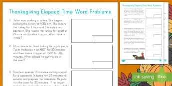 Thanksgiving Elapsed Time Word Problems - measurement, problem solving, operations, calculations, addition, math center, math station, apple p