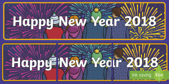 Happy New Year 2018 Display Banner  - New year, new years, New Year's Eve, banner, display, 2018