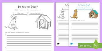 Do you like dogs? Opinion Writing Template - Opinion, Supporting Details, ELA, Common Core, first Grade, Dogs
