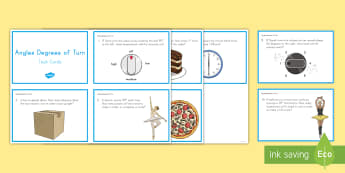 Angles: Degrees of Turn Task Cards - turns, degrees, angles, partitions, geometry, measurement