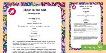 Ribbon In and Out Sensory Bottle - early concepts, in, out, sensory play, bottle, pull,