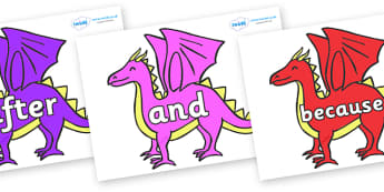Connectives on Dragons - Connectives, VCOP, connective resources, connectives display words, connective displays