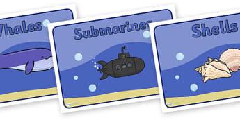 Editable Class Group Signs (Sunder the Sea) - Seaside, sea, group signs, group labels, group table signs, table sign, teaching groups, class group, class groups, table label