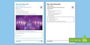 New Year Fireworks Disneyland Higher Tier Photo Card Activity Spanish - speaking, picture, description, gCSE, answer, questions, disney