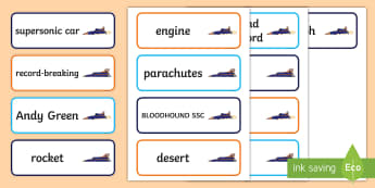 KS1 BLOODHOUND SSC Project Word Cards - fastest car in the world, world land speed record, record breaking, supersonic car, british record