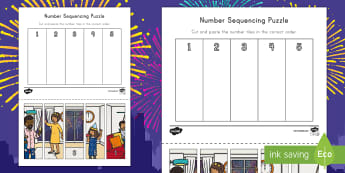 New Year's Eve Sequencing Puzzle - Number Recognition, Number Sequencing, New Year's Eve Party, New Year's Eve Celebration, Early Chi